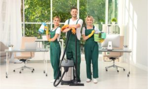Team with Cleaning Equipment